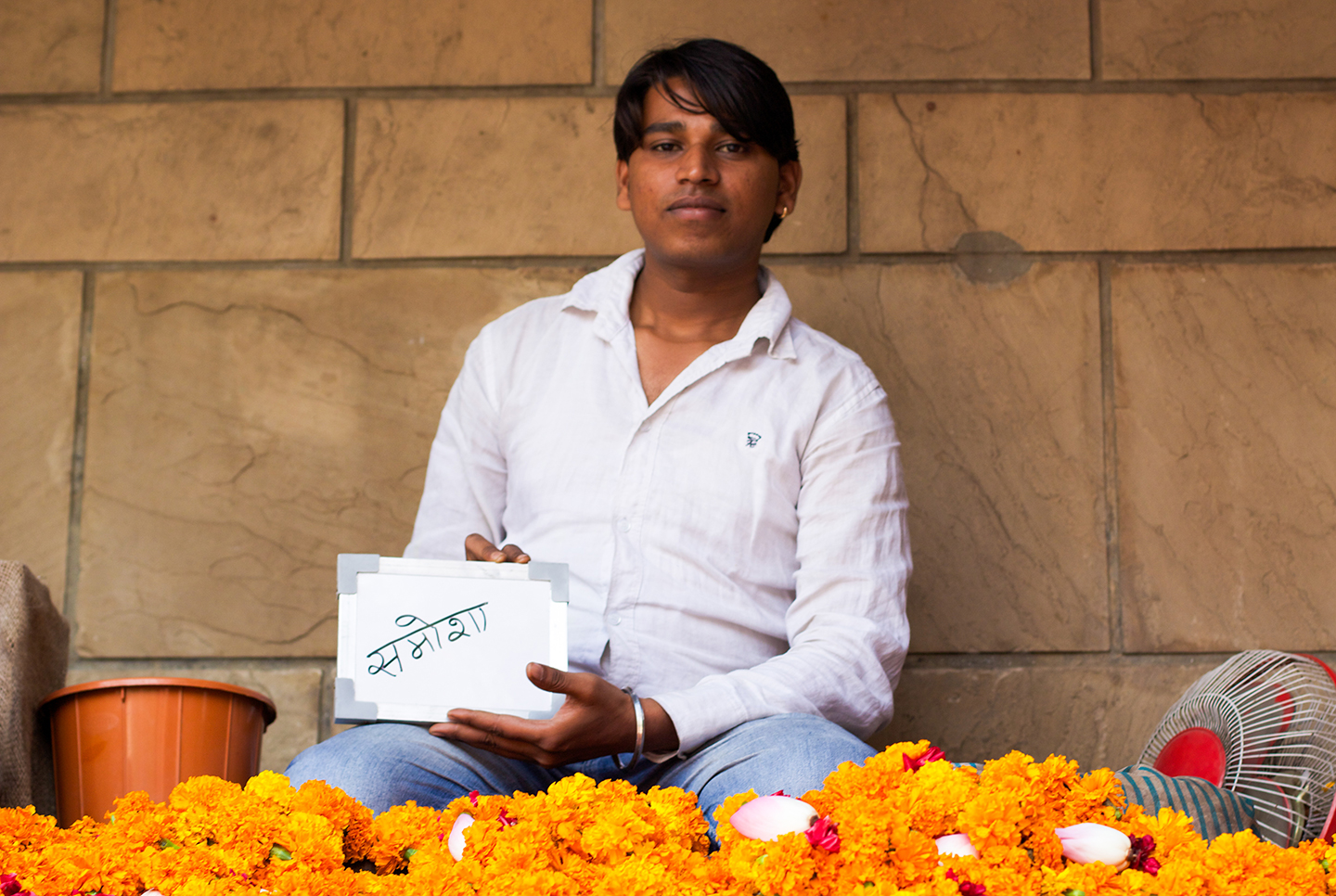 Monu from Delhi has been selling flowers at ISKCON, International Society for Krishna Consciousness, for 13 years.