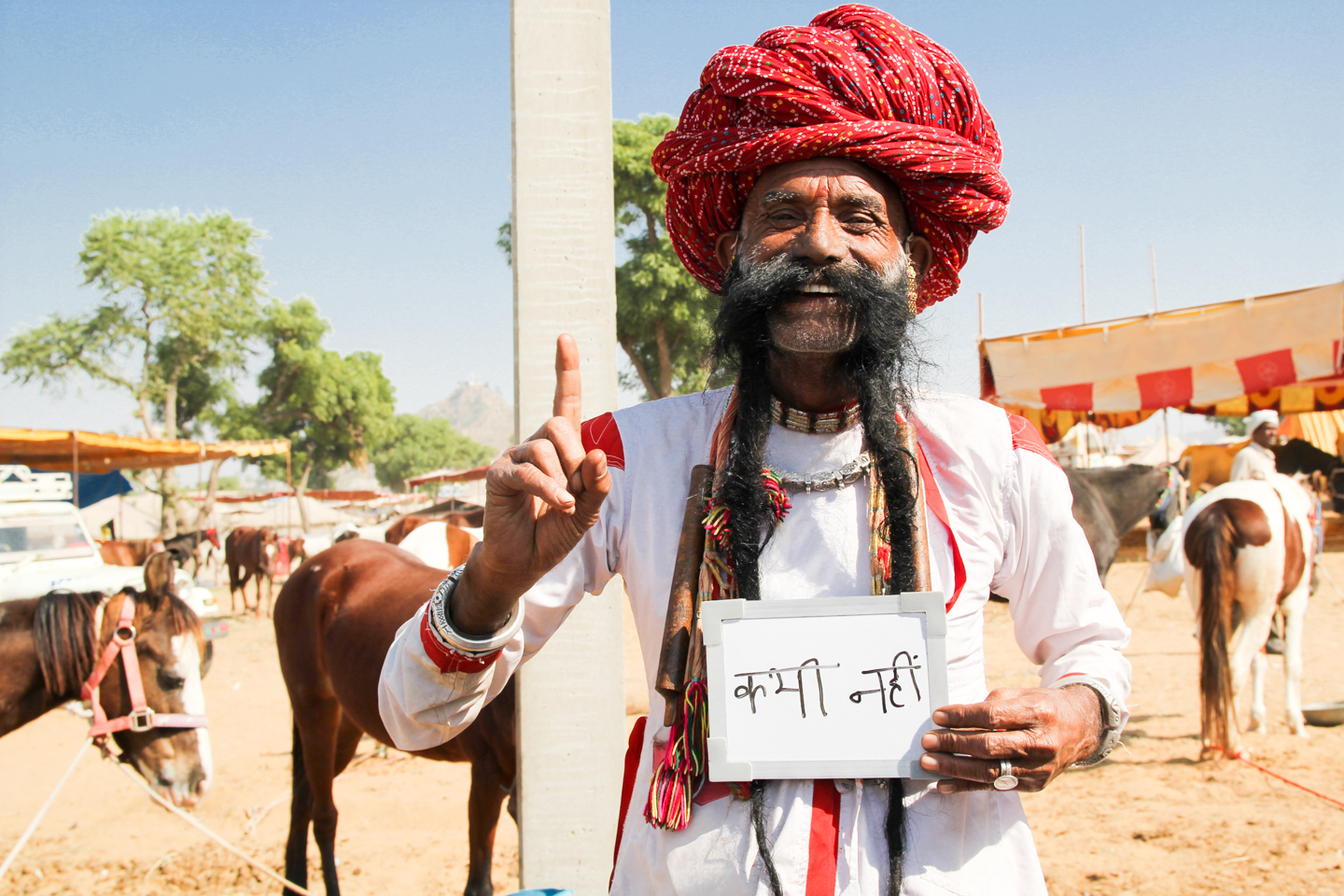 Ramnath Chaudhary from Padampara, Jaipur, never drinks chai - only water. He has been growing his mustache for 45 years and claims it is the longest in the world.