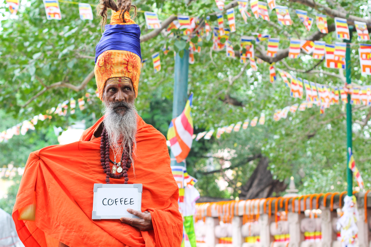 Suchetan Giri Goswami, a sadhu or holy man, has traveled the length and breadth of India. He is pictured here visiting the Mahabodhi Temple in Bodh Gaya, Bihar, the site where Siddhartha Gautama attained enlightenment under a pipal tree 2500 years ago and became the Buddha. Suchetan prefers coffee to tea.