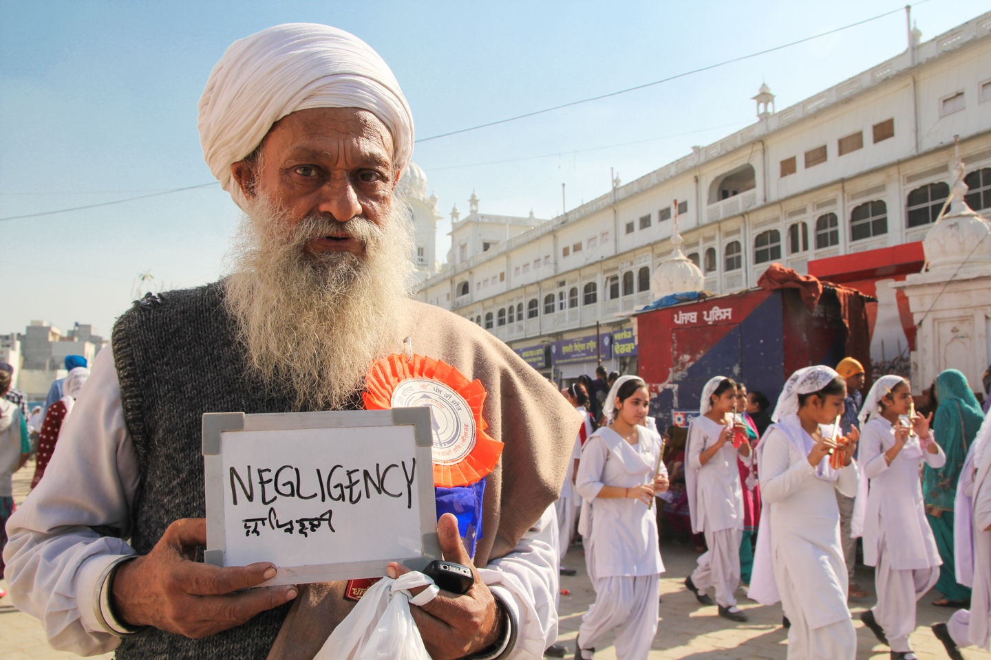 R.S. Pars Singh, a math teacher in Punjab, avoids tea as much as possible because it 'brings negligency of the mind!' He is pictured here visiting the Golden Temple, the Sikh religion's holiest site, for Guru Nanak Jayanti, the birthday of the founder of Sikhism.
