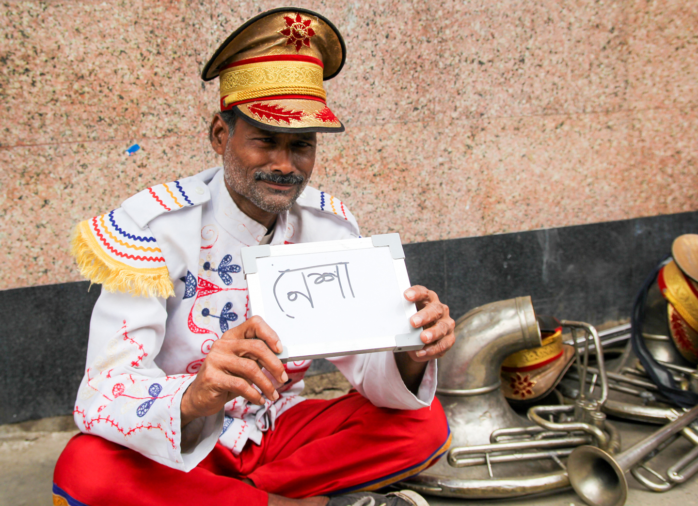 Mukthar Hussain plays the tuba in a Kolkata-based band. During Durga Puja, a six-day holiday celebrated throughout West Bengal, he and his band play until dawn.