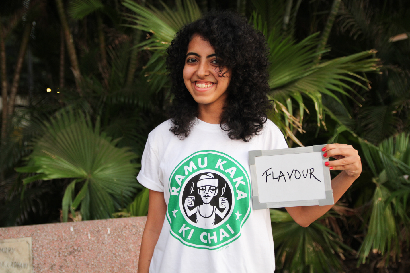 Abhishta, a student of commerce at Mumbai's H.R. College, sports a Ramu Kaka Ki Chai t-shirt designed by Rajveen Khandelwal and Gaurav Agarwal.
