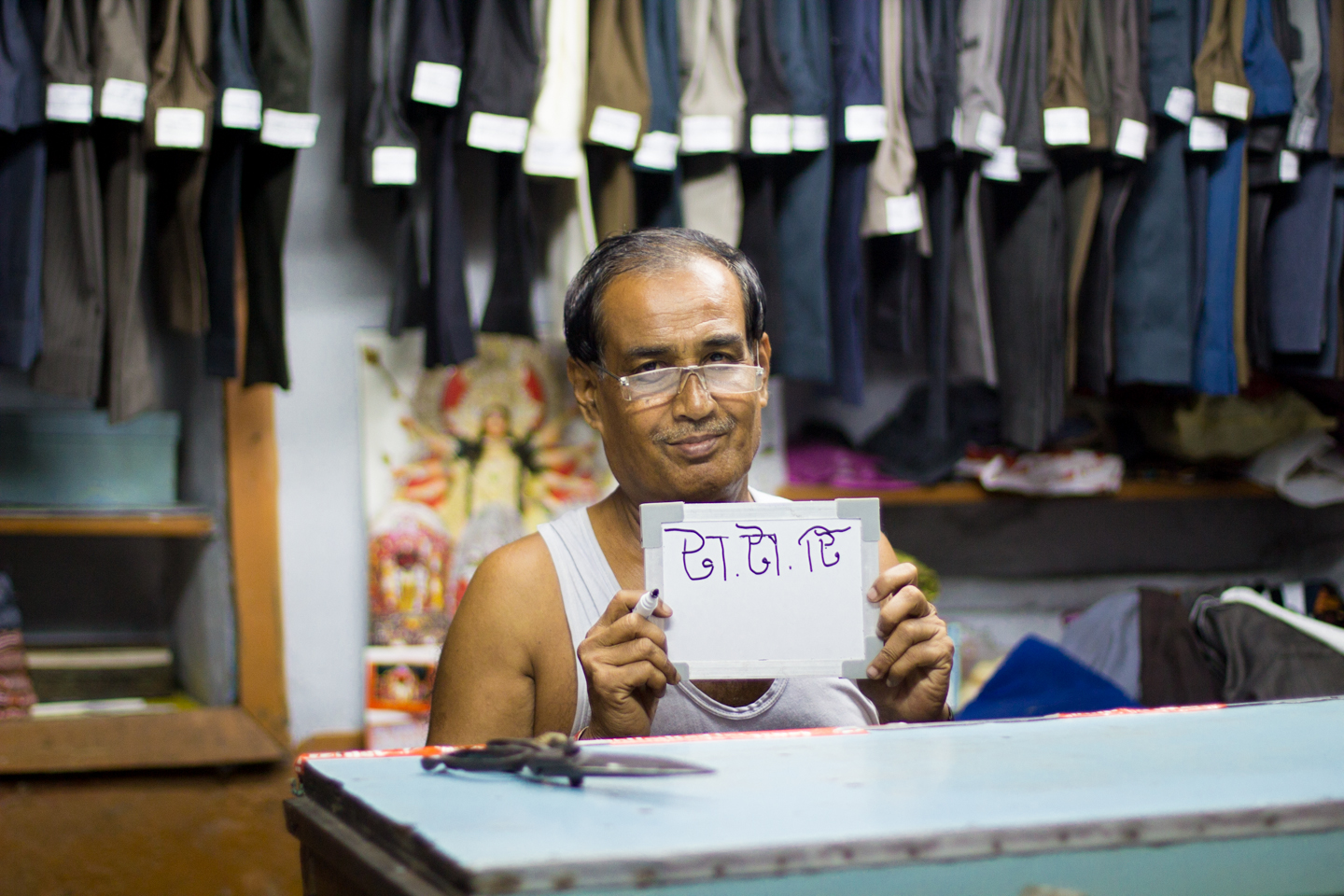 Fifty-year-old Bimoi Roy, a tailor in Kalighat Refugee Hawkers Corner in Kolkata, associates chai with his favorite brand, Tata Tea.