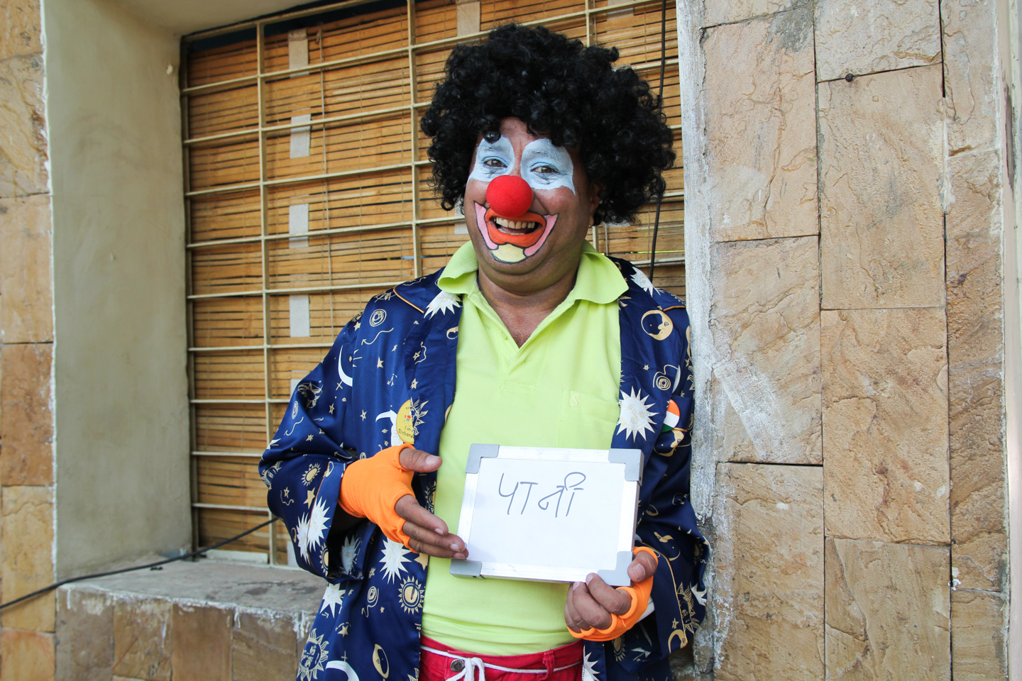 Foolingyou, a clown based in Mumbai, poses for our Ek Shabd photo series.