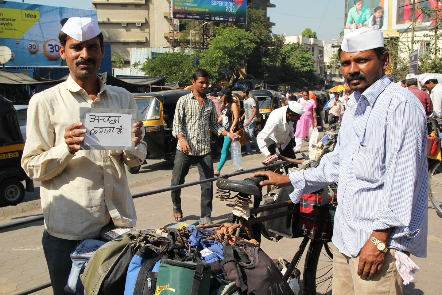 Shivaji has worked as one of Mumbai's legendary dabbawalas for twenty years, transporting homecooked meals to office workers around the city. He delivers lunches to some of the 400,000 employees of Bandra Kurla Complex, a sprawling collection of commercial and government buildings. Tea gives him the energy to make the rounds on his bicycle.