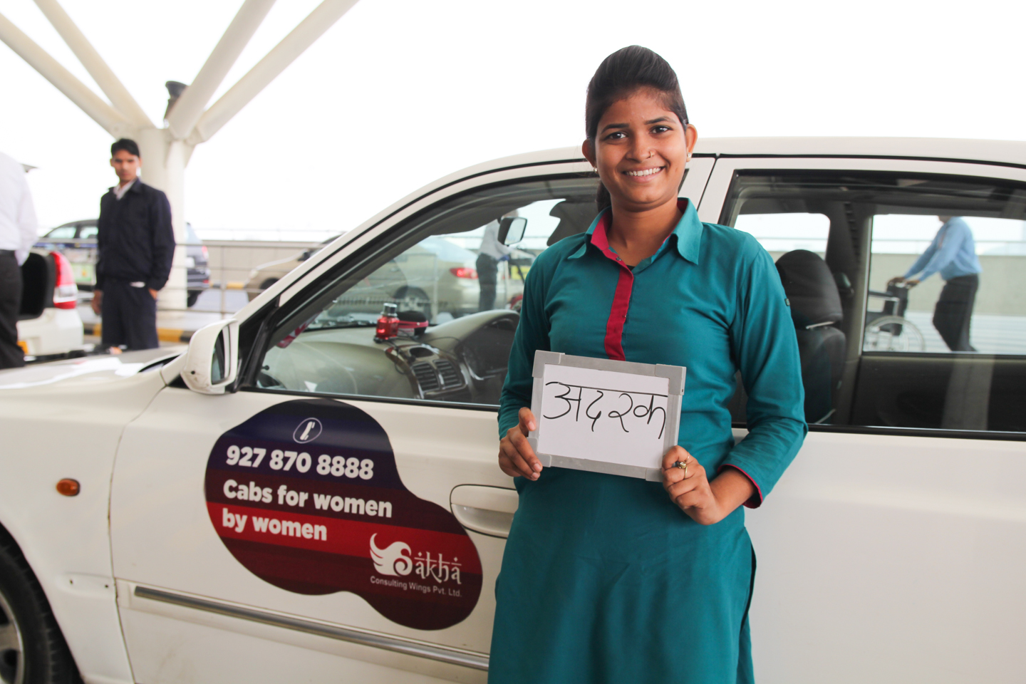 For four years, Khushi has been a driver for Sakha Cabs for Women, safely transporting women in and around Delhi. Originally from Jhansi, Uttar Pradesh, Khushi dreams big. 'I have already learned how to drive cars and commercial buses. If you bring me a plane, then certainly I can learn to drive a plane!'