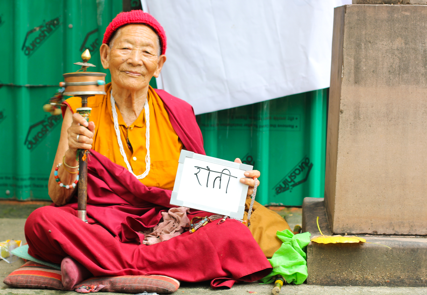 Ane says she is more than 100 years old. She moved to Bodh Gaya from a village near Kolkata many years ago, and now spends her days under a bell at the Mahabodhi Temple spinning her prayer wheel. When we asked her what chai made her think of, she brought out a half-eaten roti, which she was saving for her afternoon cup.