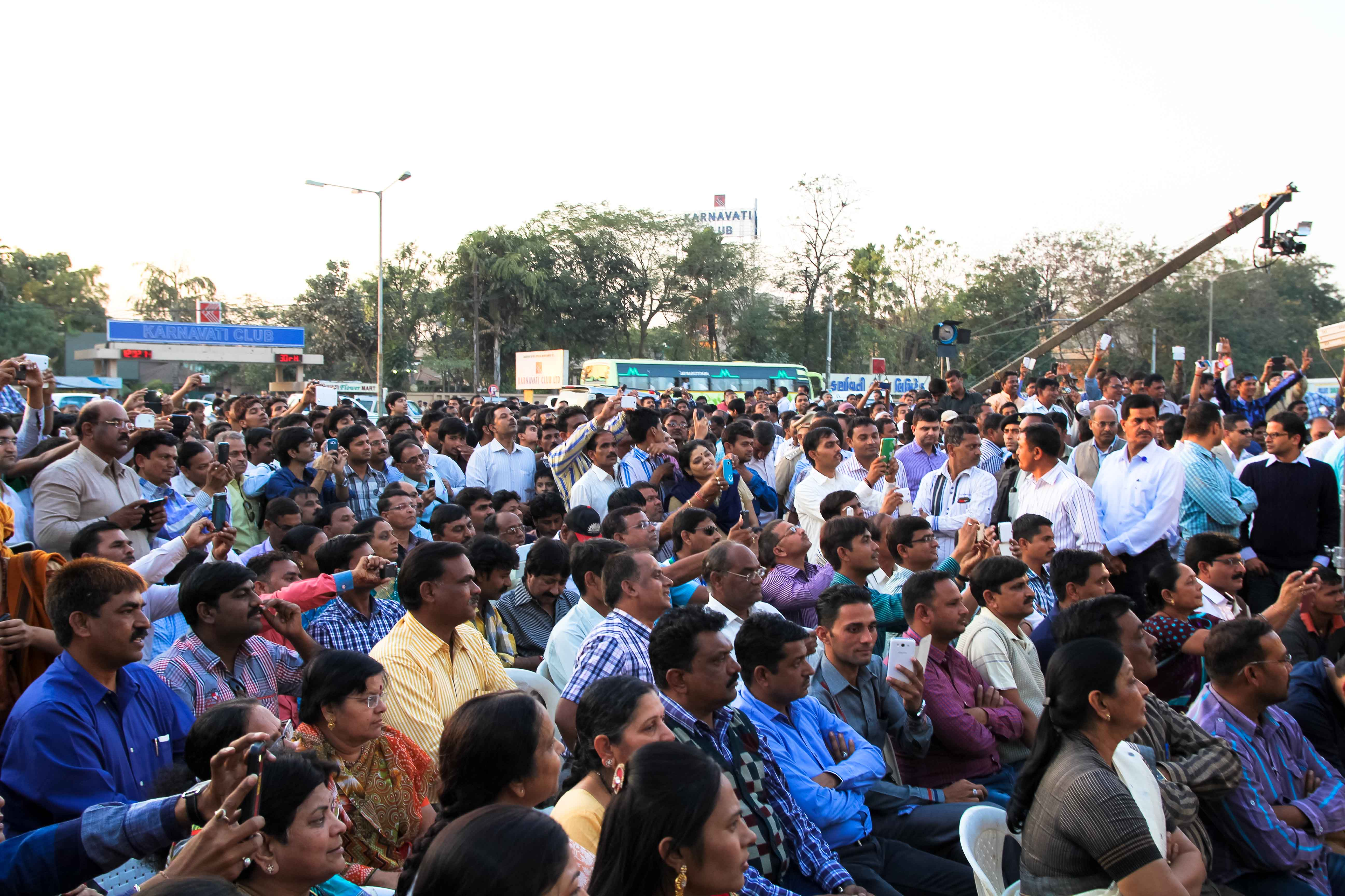 Members of the crowd at the first Chai Pe Charcha with NaMo in Ahmedabad, Gujarat on Feb. 12, 2014.