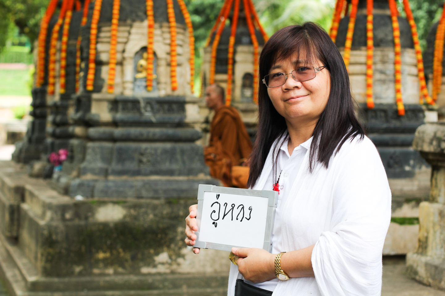 Khunthong Banjerdrungravee, pictured here at the Mahabodhi Temple in Bodhgaya, Bihar, where she was visiting on a pilgrimage, enjoys many types of tea, but her favorite is oolong. 'Usually I have one cup a day. But if I'm working, I have three.'