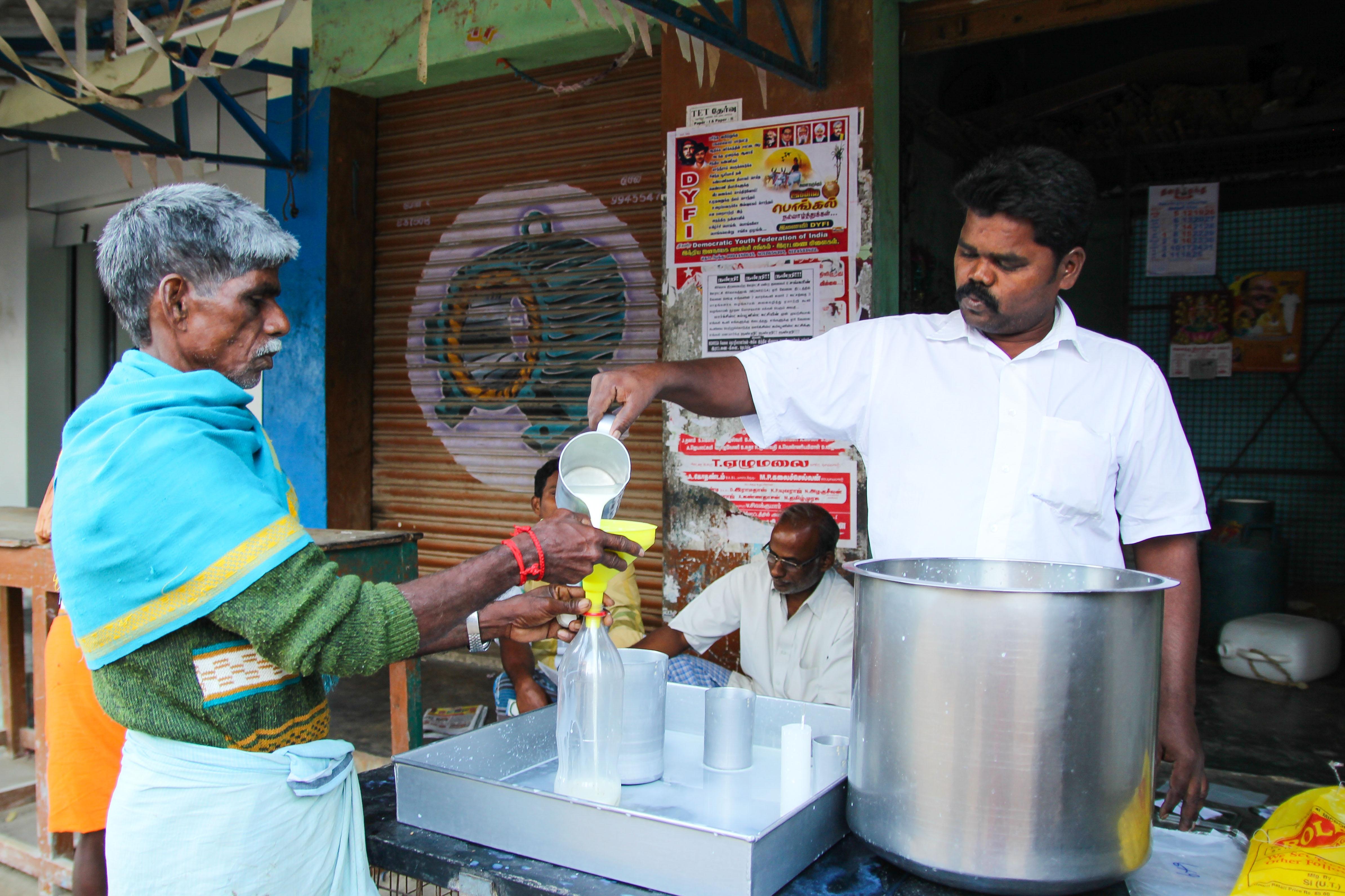 A dudh wallah in Rettanai, Tamil Nadu