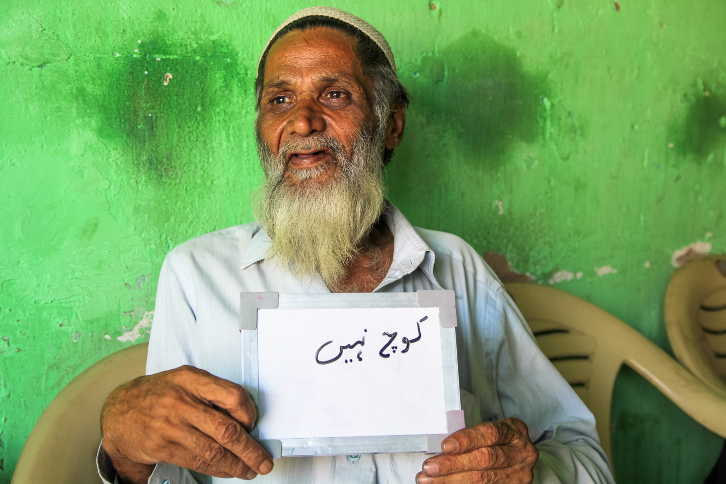 Seventy-year-old Mohammed Shabir considers himself the philosopher of Al Askari Tea Point, a chai shop in Barkas, Hyderabad. 'Man used to live in the jungle and eat, and he was happy. Now people have become materialistic and feel they have to keep up with their neighbors. That is what has made people unhappy - being selfish instead of doing what makes them happy. All said and done, if you think the right thoughts and do the right things, good things will happen to you.' When asked what the word 'chai' makes him think of, Mohammed laughs. 'That is a big question you're asking,' he says, and writes 'nothing.'