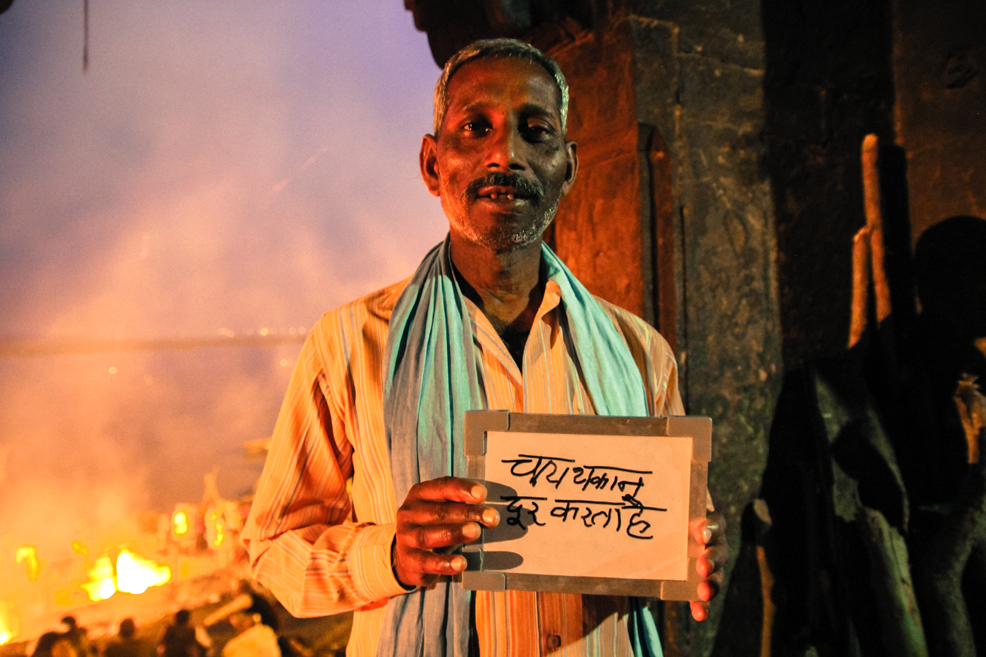Salu spends his days and nights showing tourists around the burning ghats on the banks of the holy Ganges River in Varanasi, considered to be the most auspicious place for Hindus to cremate their dead.